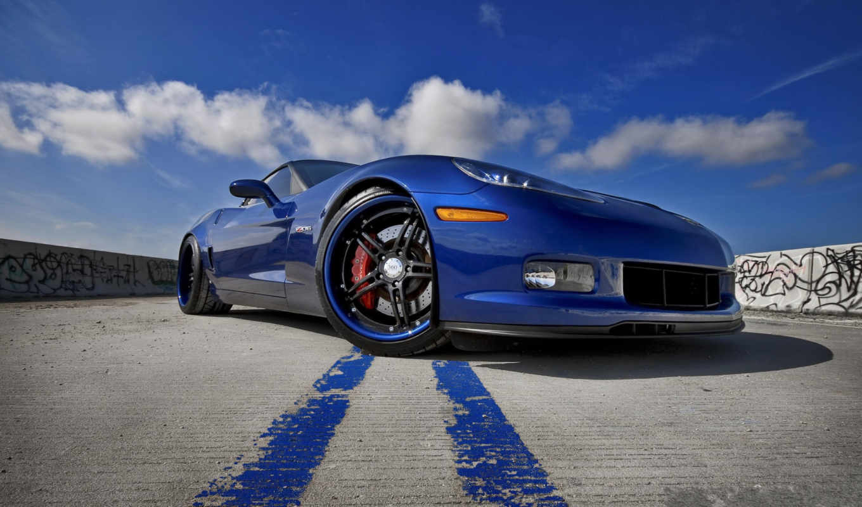 corvette, chevrolet, машина, blue, дорога,