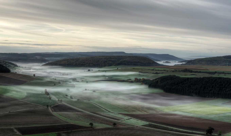 утро, туман, осень, германия, долины, уголками, прекрасными, природы, леса, поля, пейзажи,