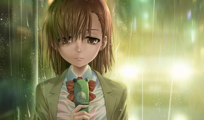 девушка, аниме, телефон, дождь,