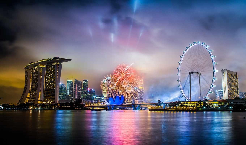 сингапур, ночь, отель, города, фейерверк, город, салют, праздник,