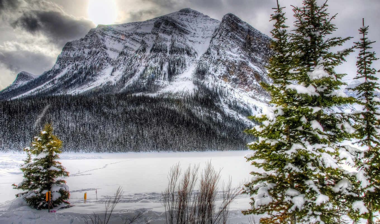 горы, природа, landscape, winter, парки, ёль, деревья, снег, реки, канада, года,
