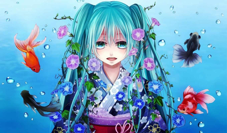 девушка, anime, devushki, miku, мультяшки, рыбки, вокалоид, vocaloid, art, hatsune,