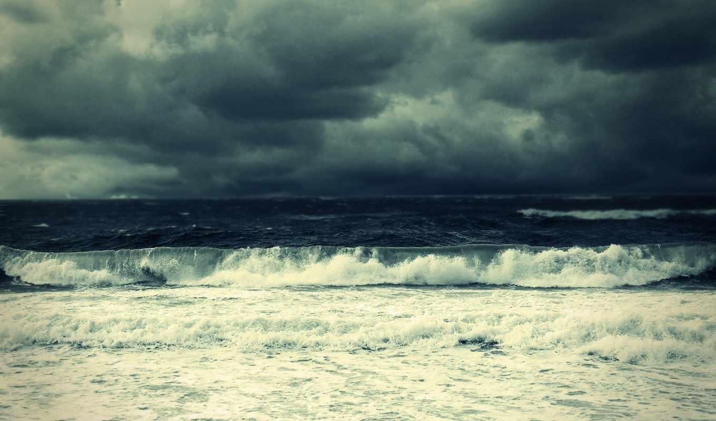 буря, море, тучи, небо, waves, clouds, ocean, easy,