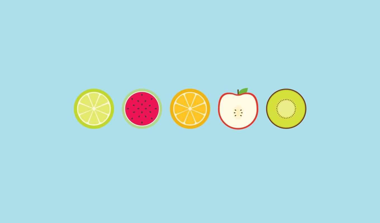 арбуз, киви, яблоко, лайм, апельсин, фрукты, круги,
