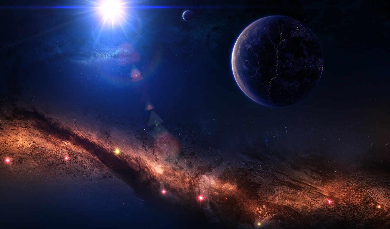 туманность, космос, арт, звезды, планета, свечение, ipad, картинку,