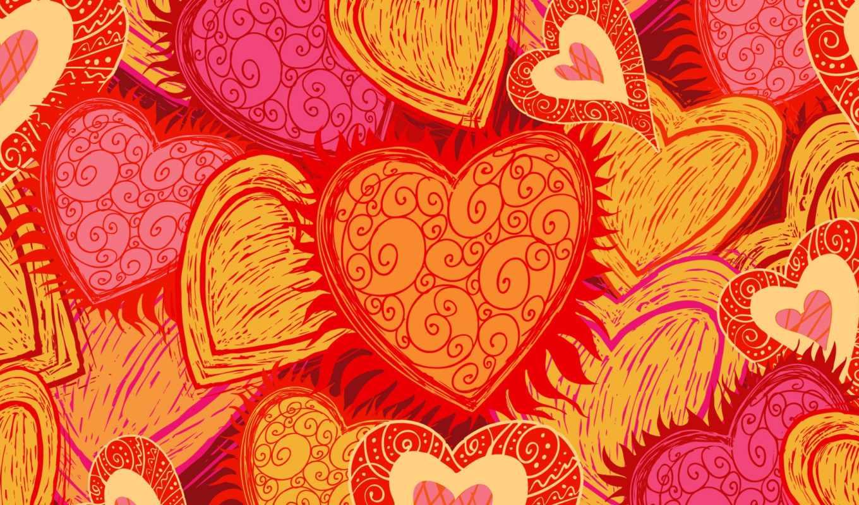 hearts, ярко, сердечки, узоры, pink, orange, red, love,