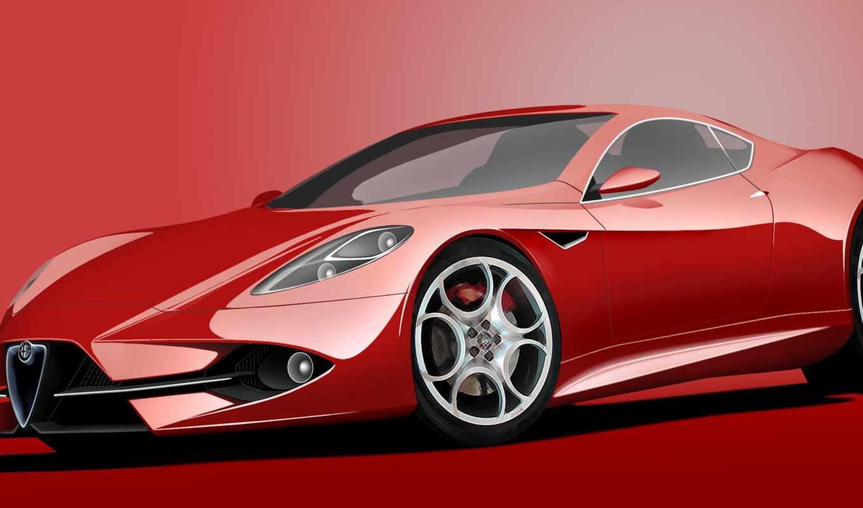 разном, машина, спорткар, красный, концепт,