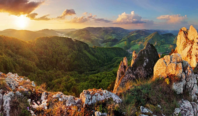 коллекция, солнце, горы, восход,