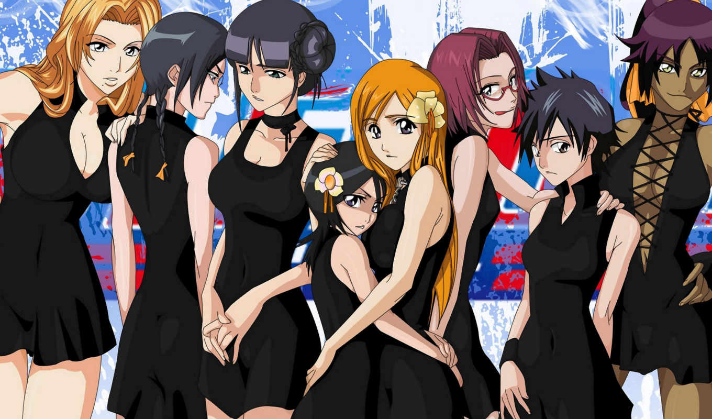 ичиго, орихиме, kurosaki, рукия, inoue, блич, anime,