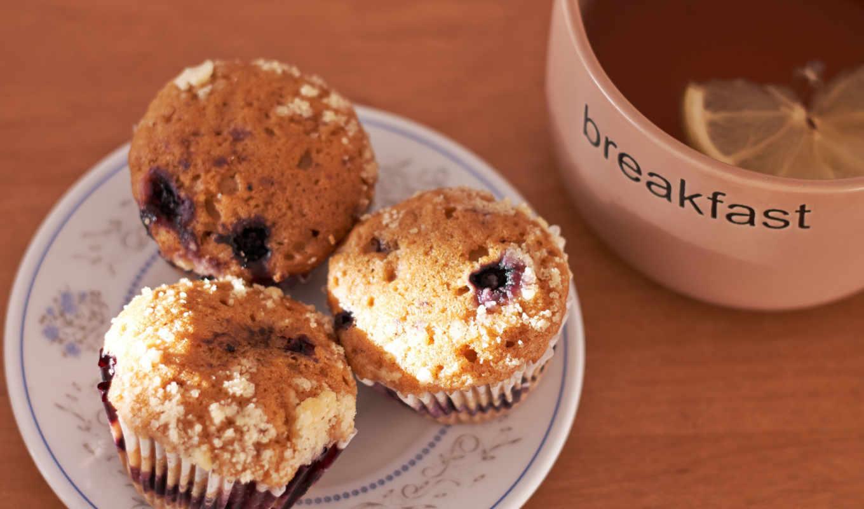 еда, завтрак, кексы,