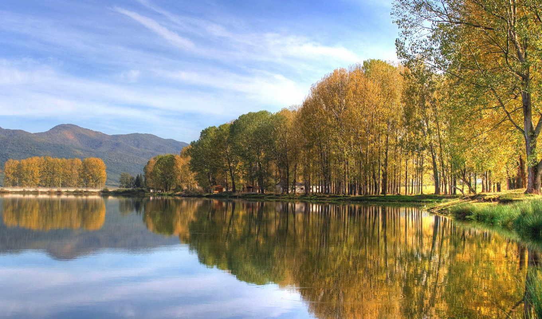 осень, природа, озеро, деревя, landscape,