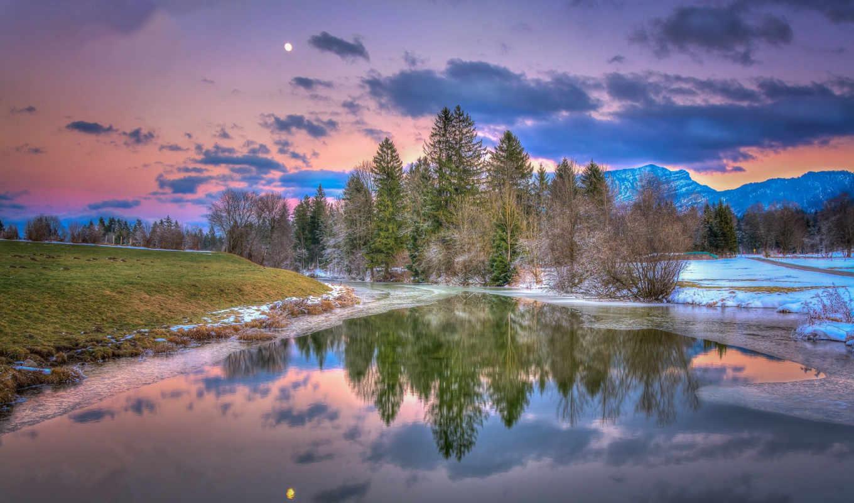 ,лес,река,снег,небо,горы,