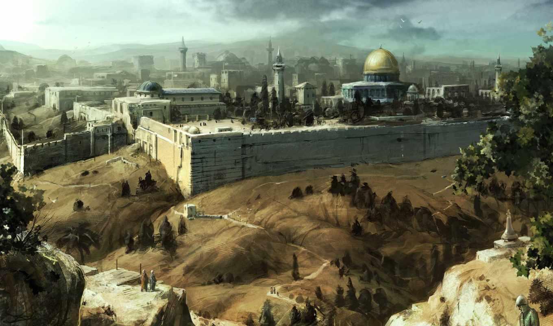 иерусалим, мечеть, creed, assassins, арт, стена, небо, дороги, картинка, картинку,