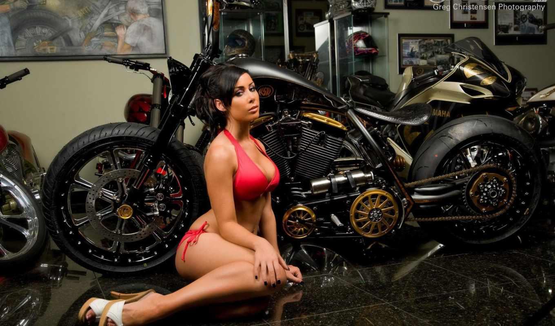 мотоциклы, девушка, мотоцикл, картинка, установить, сидит, кастом, мото, гараж,