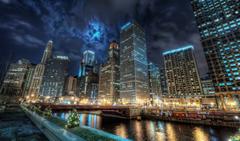 ночь, город, города, огни, взгляд, мост,