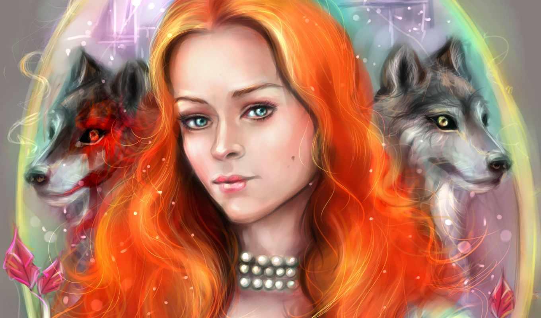 девушки, game, престолов, серия, фильмы, волки, рыжая, волосы,