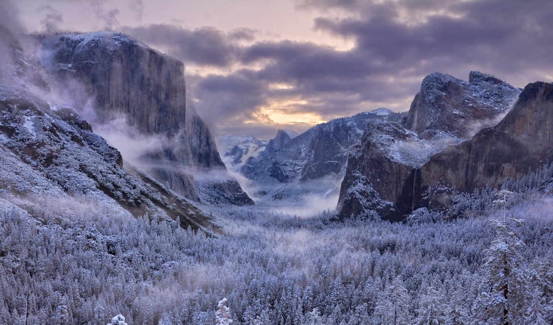 дек, страница, зимние, пейзажи -, снег, winter,