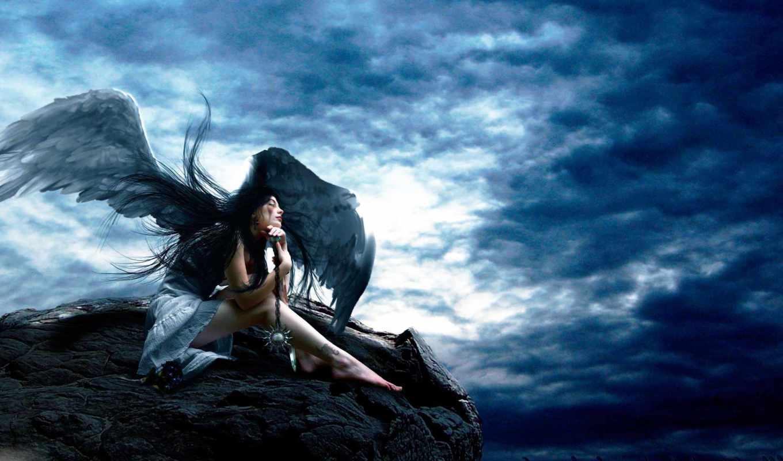 angel, девушка, взгляд, крылья, anime,