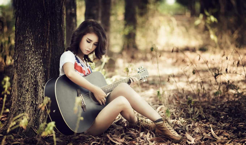 девушка, гитара, гитарой, girls, природа, лес, деревья, туман,