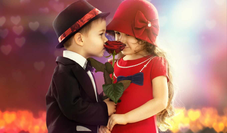 , дети, цветок, романтика