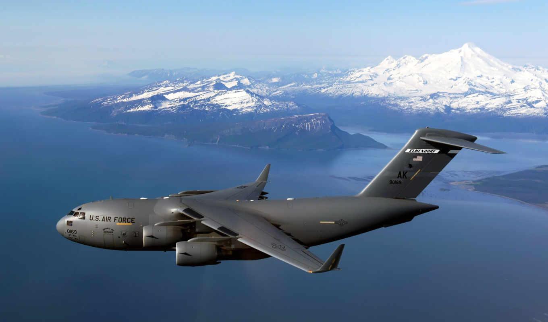 globemaster, iii, boeing, air, airplane, force, desktop, sky, самолёт, airplanes, free,