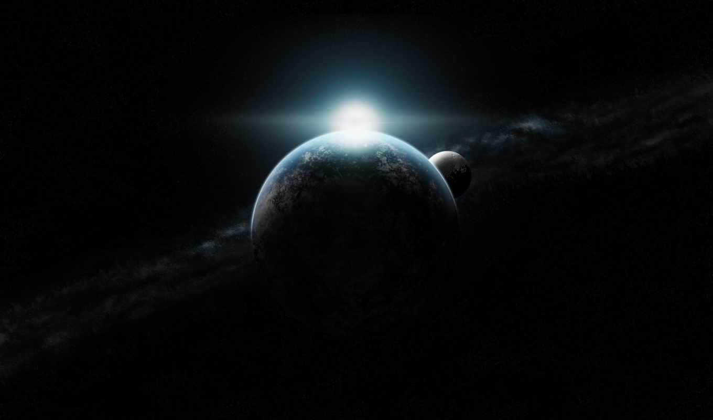 space, планета, звезды, луна, бесконечность, outer, восход, planets, with,