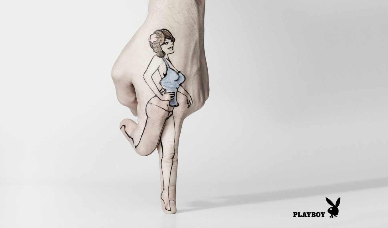 рисунок, рука, девушка, playboy, стиль, эмблема, реклама, бренд,
