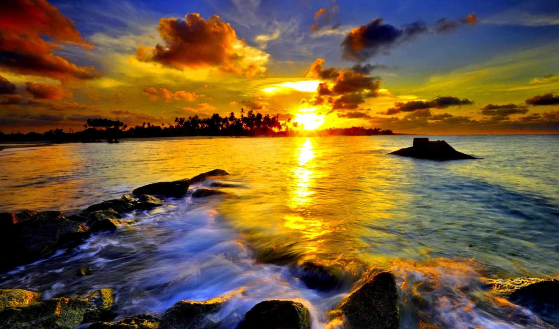 пейзажи, красивые, солнца, море, камни, закатами,