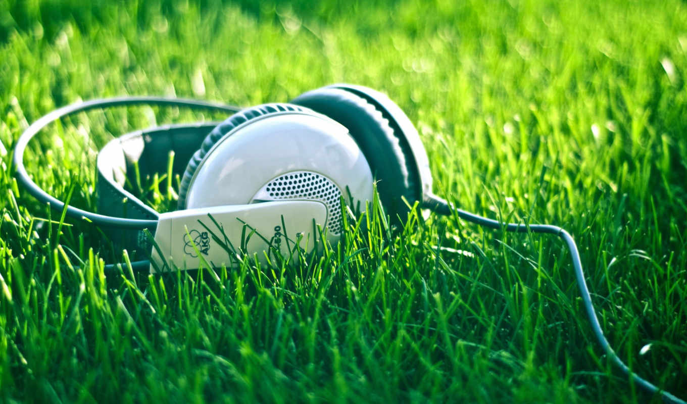 headphones, grass, music, green