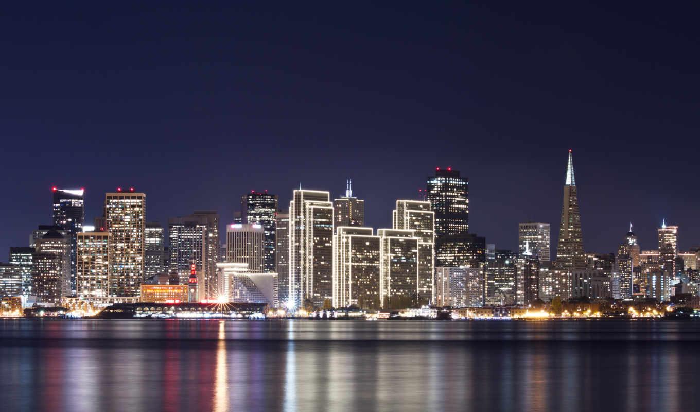 огни, свет, здания, ночь, река, город, отражение, небо, дома, вода, francisco, san, картинка,