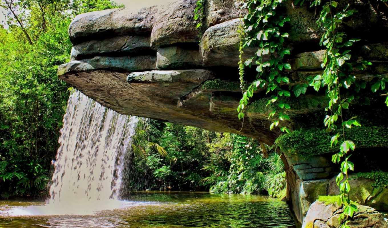 водопад, природа, совершенно, лесу, категория, море, окружении,