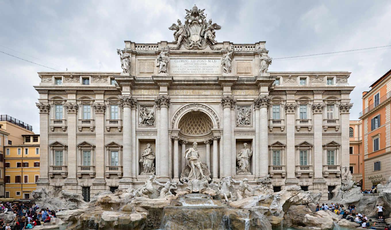 фонтан, рим, здание, trevi, italy, витанам,