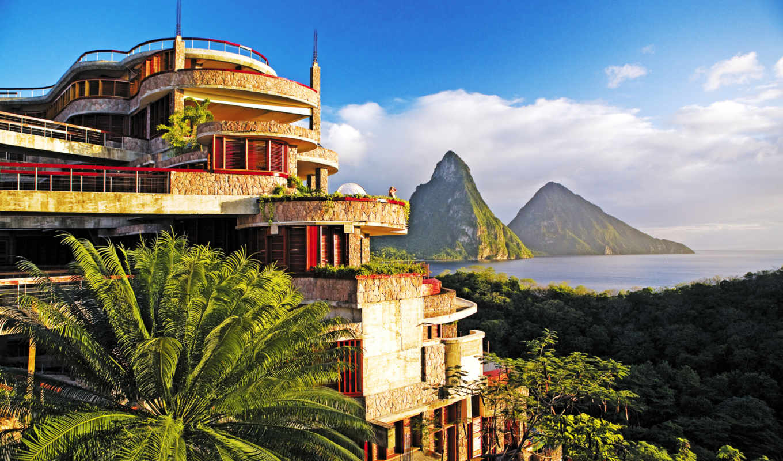 jade, mountain, lucia, caribbean, anse, architecture, resort,