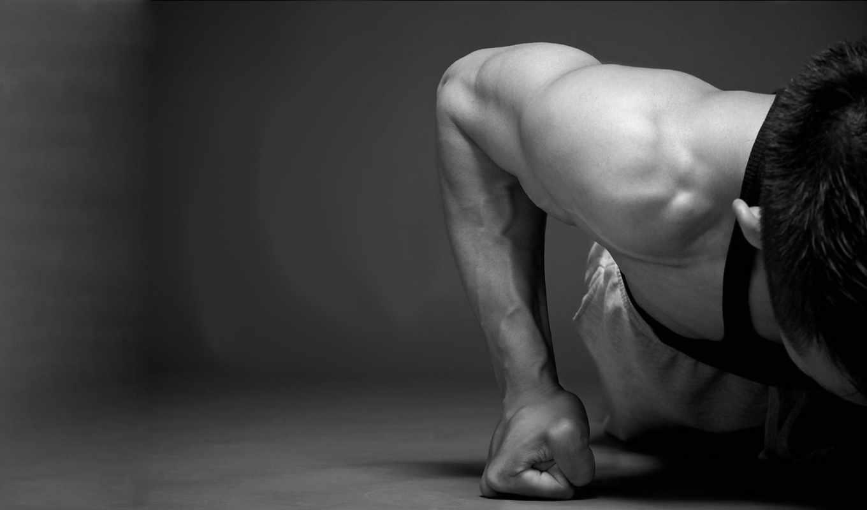 мотивация, мышцы, отжимания, слова, мужчина, чб, нояб,