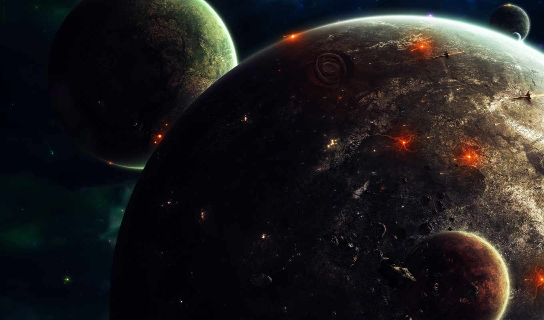 планеты, спутники, спутник, космос, гладь, луны, совершенно, свой, звездолеты,
