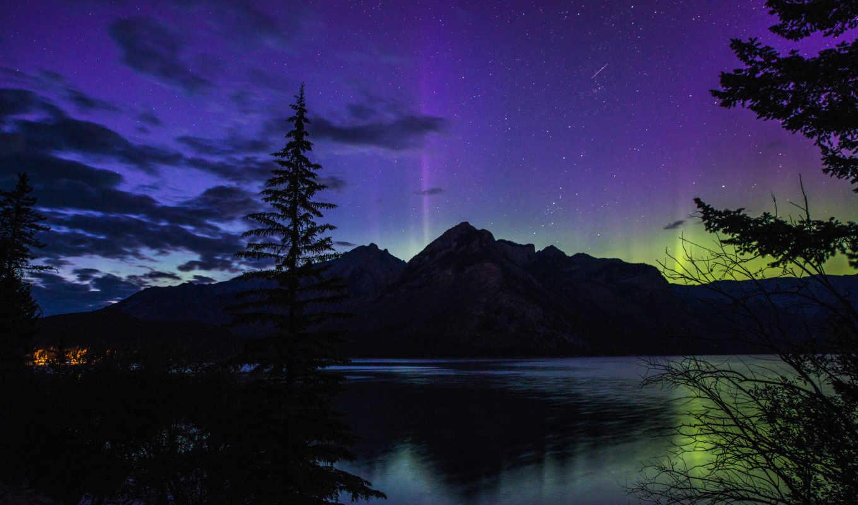 альберта, канада, banff, national, park, ночь, банф, озеро,