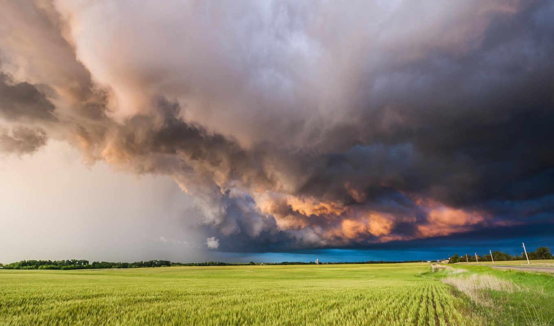 буря, пейзажи -, природа, тучи, поле, landscape,