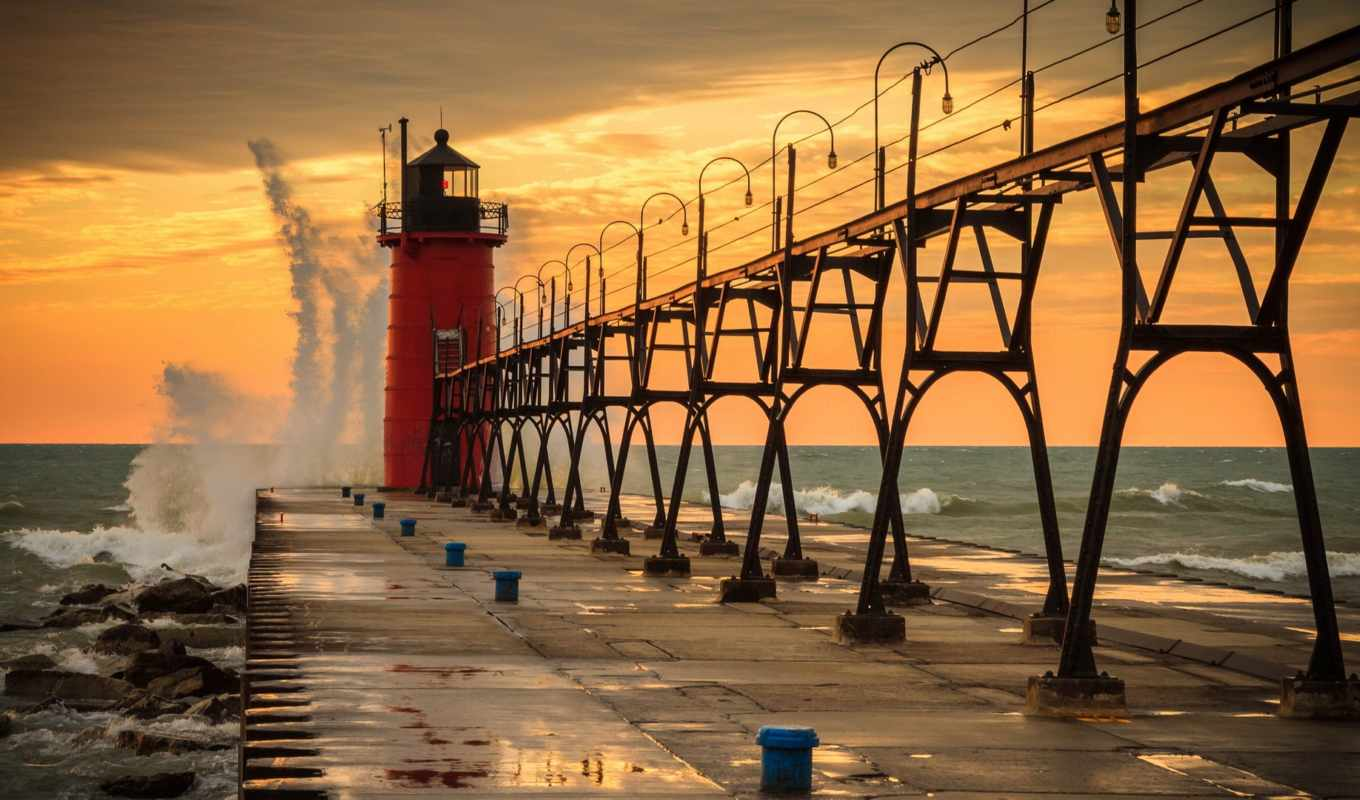 haven, south, michigan, озеро, сша, pier, lighthouse, water, waves,