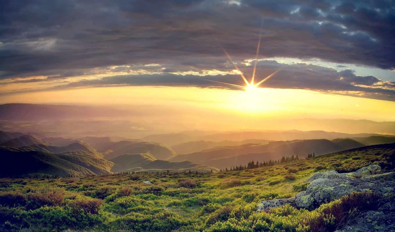 природа, заставки, sun, встает, страница, разрешениях, разных, со, гор, закат,