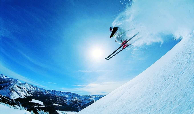 спуск, ski, snow, скорость, winter, экстрим, склон, лыжник, солнце, racing, горы, sports, спорт,