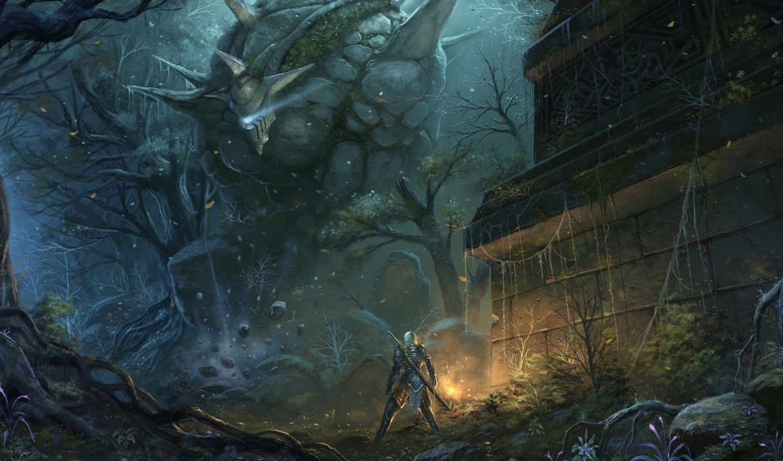 фэнтези, оружие, руины, человек, лес, арт, гигант, chaoyuanxu, существо, голем, меч, картинку, картинка,