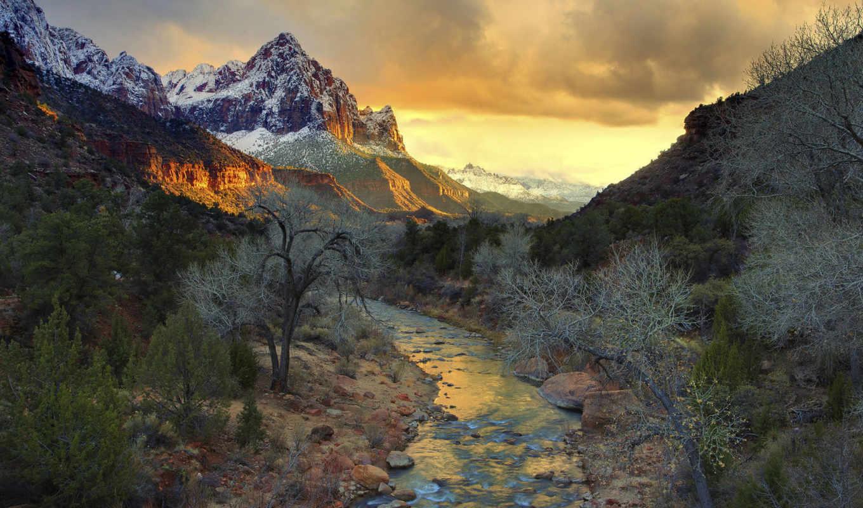 парк, сша, национальный, зайон, река, горы, деревья, небо, закат, landscapes, mountains, amazing, nature,