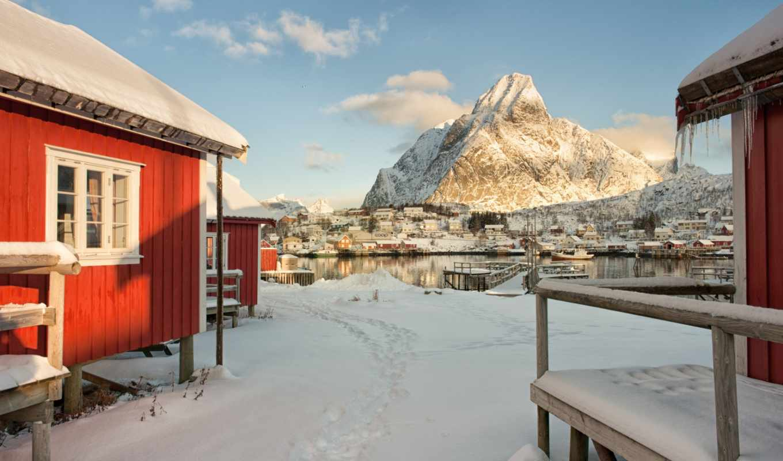 winter, коллекция, снег, дома, небо, норвегия,