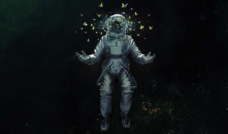 космонавт, art, красивые, аватар, авы, против, череп, бабочки, cosmos,