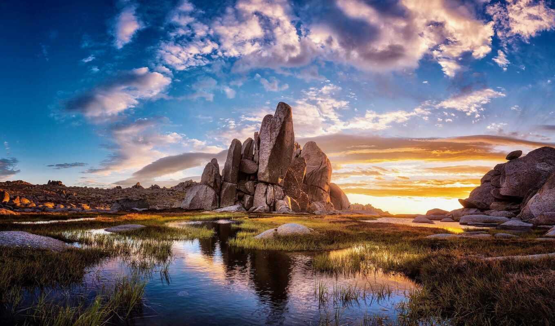water, облако, закат, rock, copyright, discover, wallpapertip, трава, print, под, game