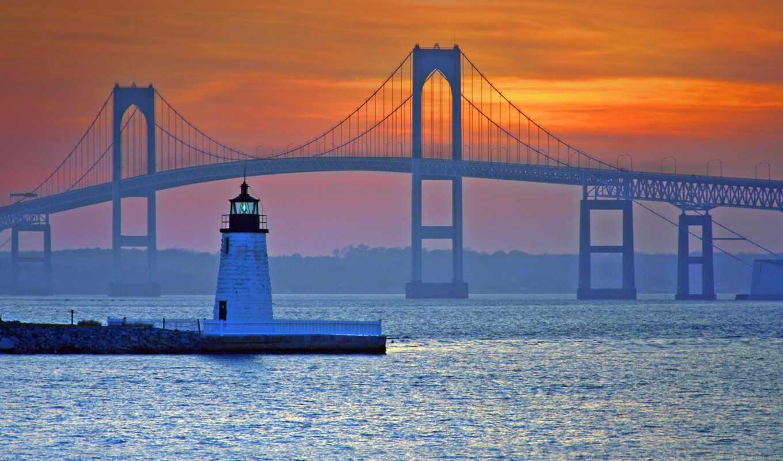newport, мост, pell, lighthouse, koda, сша, ailend, цветы, claibear, shestnadcaterichnyi