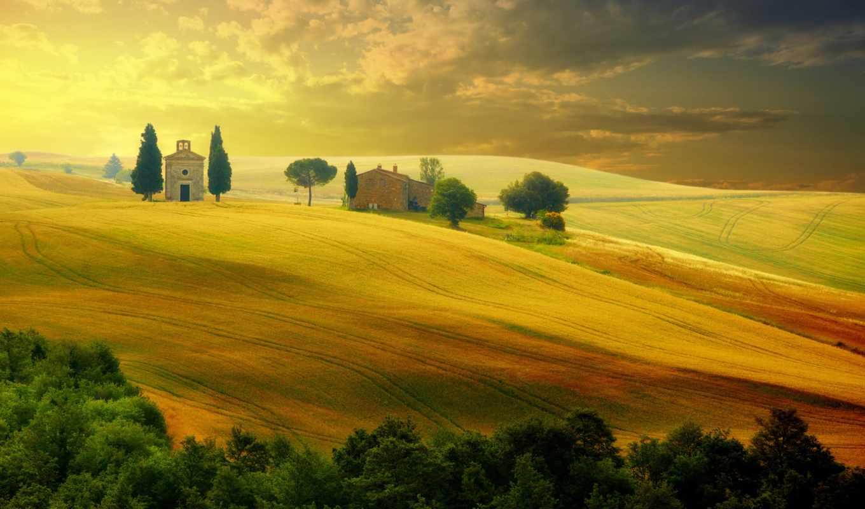 природа, италия, красивые, пейзаж, природы, trees, sky, тоскана, италии, field,