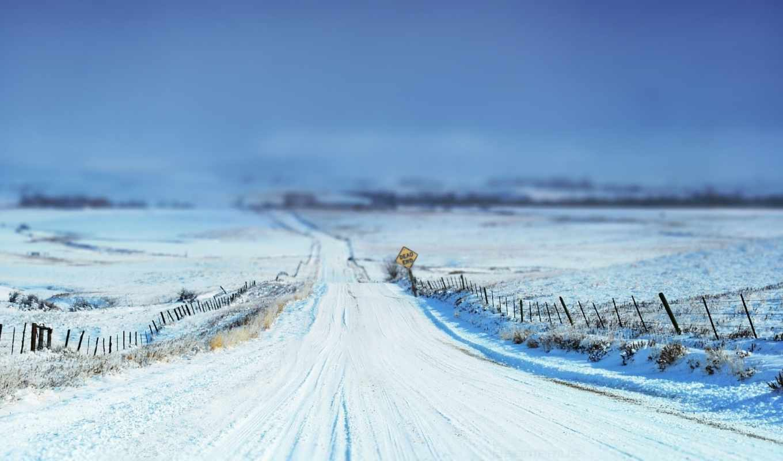 дорога, зимняя, поле, дороги, нравится,