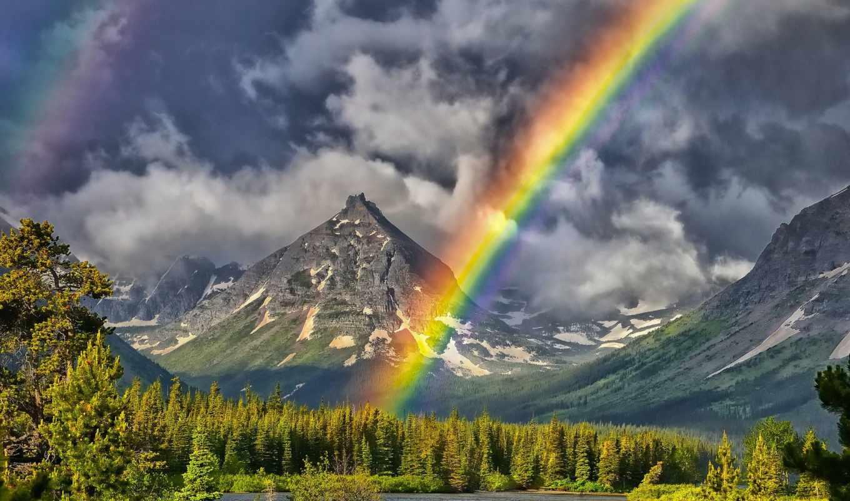 радуга, горы, озеро, landscape, painted, peak, teepee, веселка, радуги, природа,