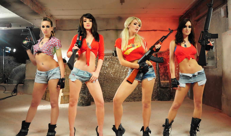 girls, guns, трусы, четверо, pictures,